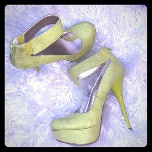 Qupid Neon Green Heels